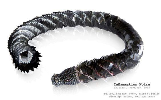 Sebastien Carré 'Inflammation noire', 2014 - pellicule de film, coton, laine & perles: