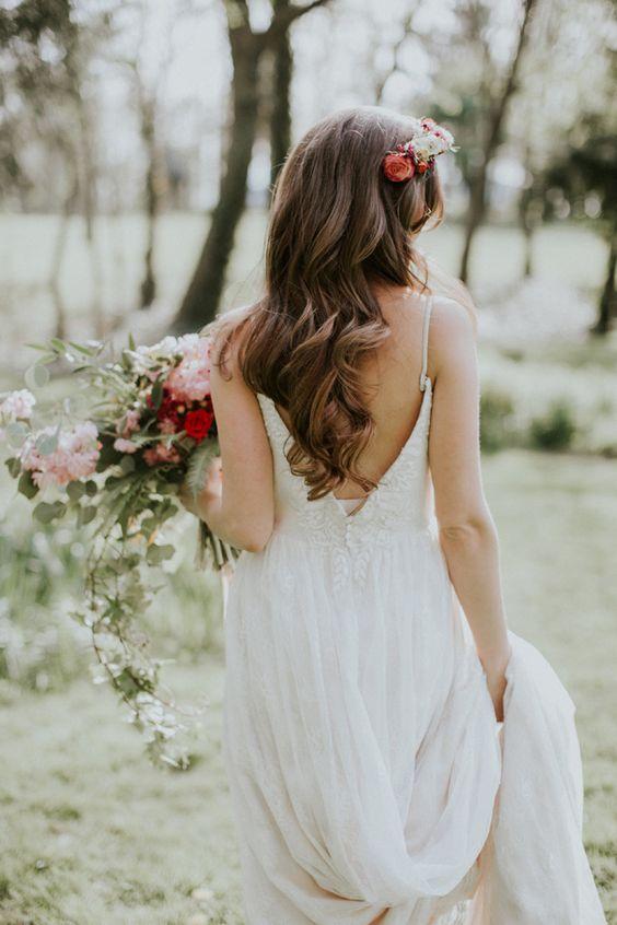 wavy bridal hair - photo by Jenna Brianne Photography and Sarah Brookhart Photography http://ruffledblog.com/colorful-greenhouse-wedding-ideas