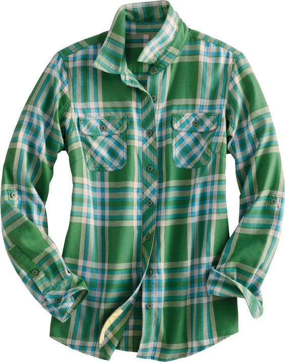 The women 39 s crosscut performance flannel shirt from duluth for Womens green checked shirt