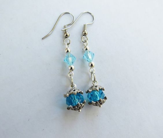 London Blue Faceted Swarovsky Crystal Dangle earrings by GypsyDreamerCafe, $10.50