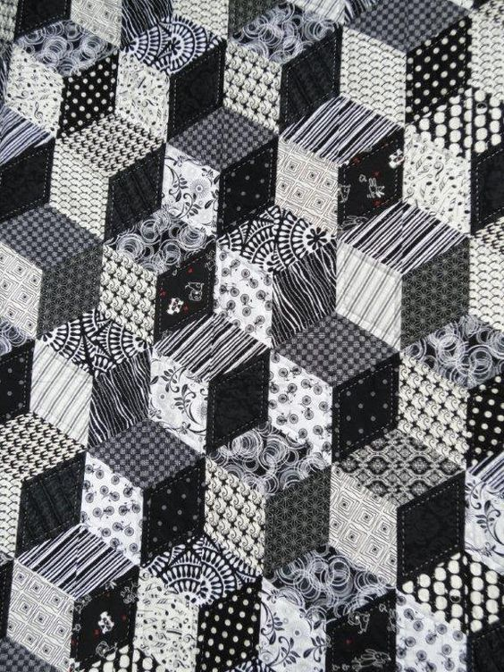 Black And White Tumbling Blocks Quilt By Wendy Welsh
