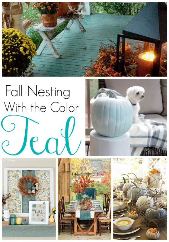 Fall Decorating with Teal - All Things Heart and Home