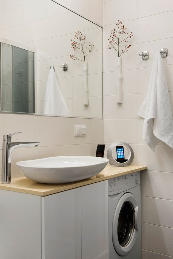 Sink and details Compact Bachelor Haven in Moscow Defined by the Mix of Modern with Retro
