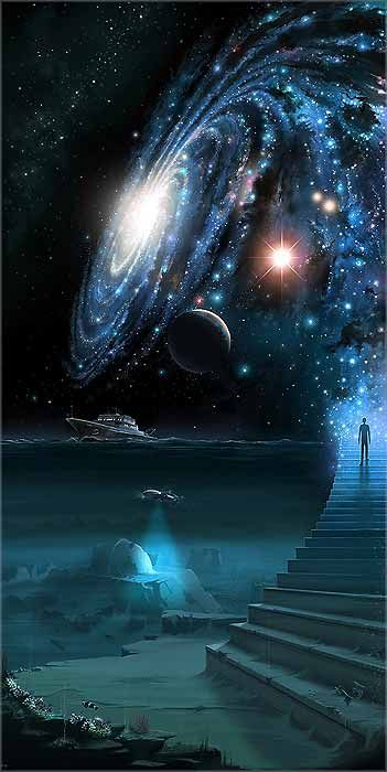"""""""Sept marches conduisent à la vie éternelle. Sept pas que vous pouvez faire ! La première naissance, la païenne, est matière. La deuxième est purification, plante. La troisième, don de soi, harmonie. La quatrième est la maison décorée, la chambre nuptiale. Par les trois marches d'en haut descend le Fiancé, la Lumière. Si le Fiancé trouve la Fiancée, la mort est avalée pour toujours."""" Dialogues avec l'ange"""