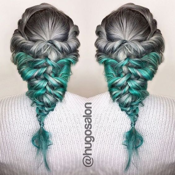 Silver and turquoise hair color with boho braid by of hugo for Salon turquoise