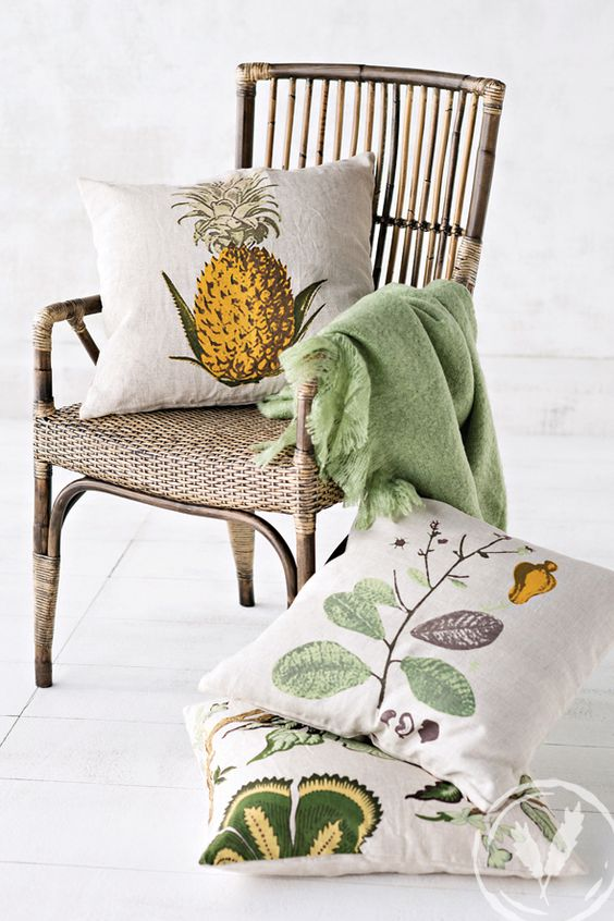 The Adelaine Armchair and in theme with plantation island our Summer Flower, Pineapple and Botanical Cushions www.frenchcountry.co.nz