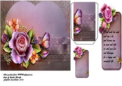 wedding pink rose bookmark on Craftsuprint designed by Cynthia Berridge - wedding card with bookmark verse - Now available for download!