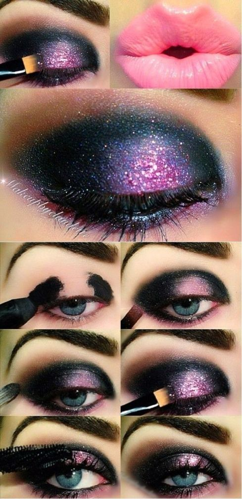 Welp 101 Galaxy Inspired Eye Makeup Ideas (With images)   Pink makeup JJ-16