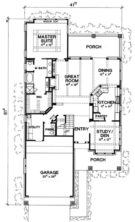 Narrow lot house plans house plans and craftsman on pinterest for Narrow luxury house plans