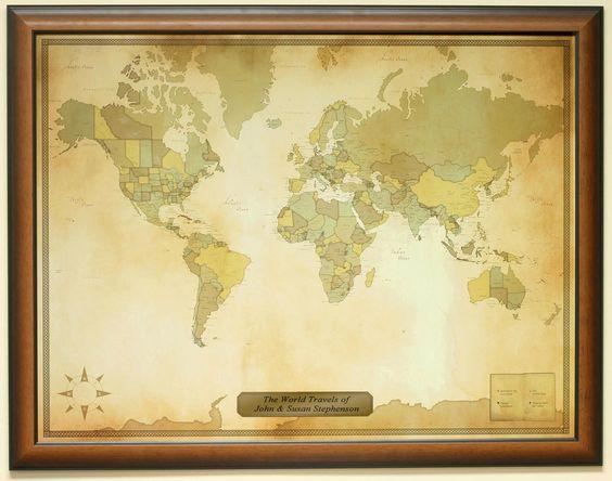 Luggage Pros Personalized Vintage World Travel Map VINTMAP-MAHOGANY - Luggage Pros