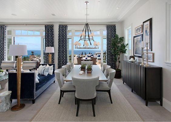 Dining Room Ocean View With A Large Chandelier Westbury Double Tier WestburyDoubleTierChandelier Dinin