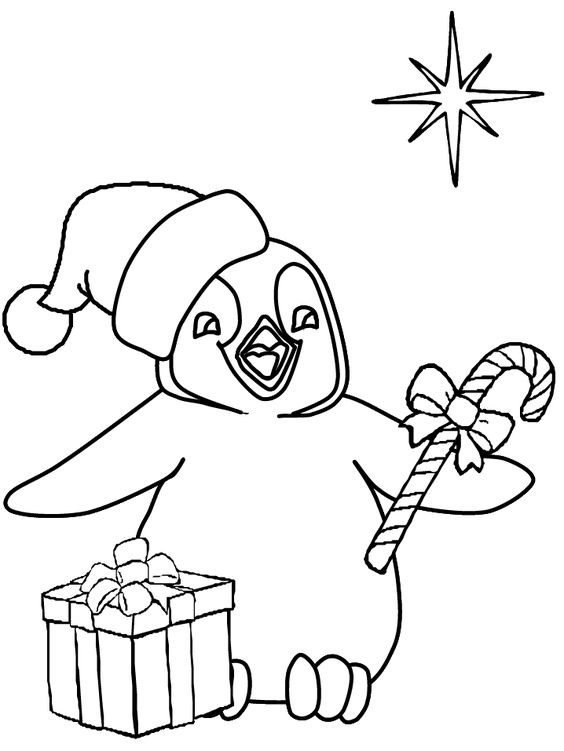 christmas penguin coloring pages Penguin Christmas