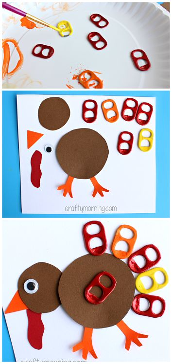Soda Pop Tab Turkey Craft #Thanksgiving craft for kids // Pavo de acción de gracias con tabs de latas