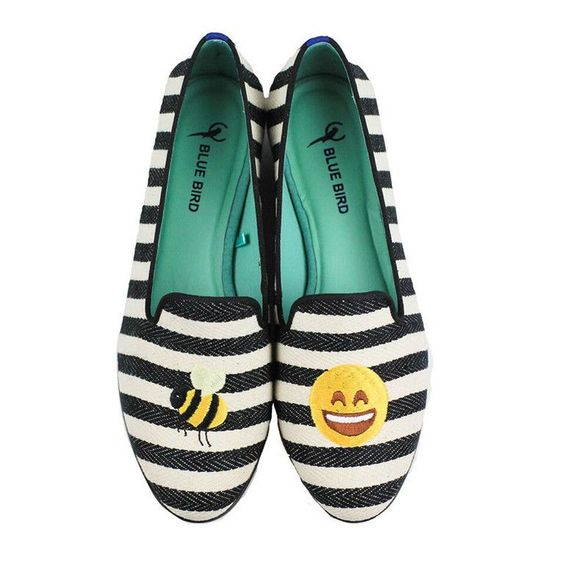 Bee Happy Loafer in Black and White by Blue Bird Shoes