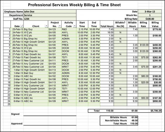 Excel Billing Timesheet Templates for Professional Services - time sheet template