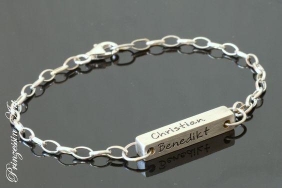 Silberbarren+925+Silber+Armband+mit+Gravur,+Namen+von+Prinzessin-Art+auf+DaWanda.com