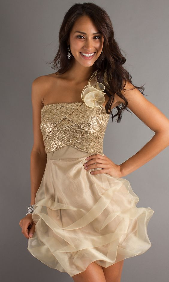 Short Gold Party Dress- XOXO Short Prom Dresses - Simply Dresses ...
