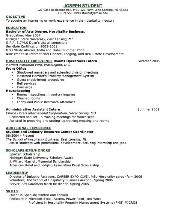 Hotel Concierge Resume Example - http\/\/resumesdesign\/hotel - objective for hotel resume