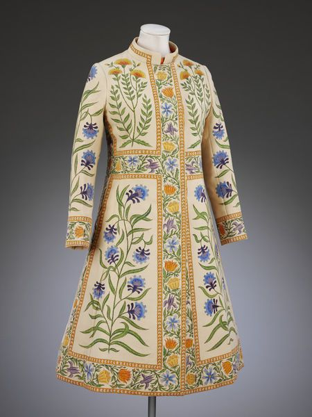 """""""Rajputana"""" Wedding Coat, Richard Cawley, 1971, British; Wool crepe, handpainted, lined with silk, fastened with plastic buttons, machine stitched and hand finished"""
