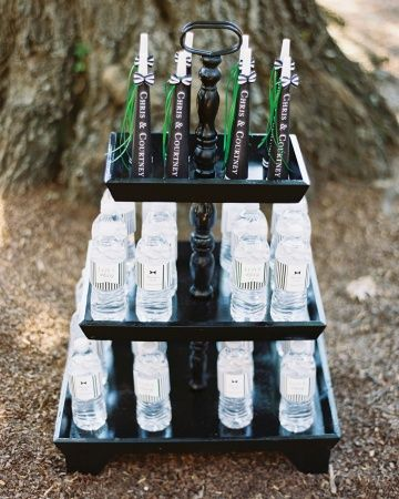 A hot summer wedding in the South calls for lots of water bottles with custom striped labels