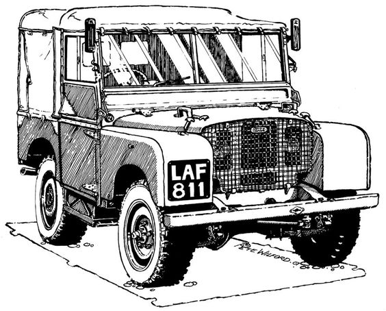 land rover 80 serie one cartoon