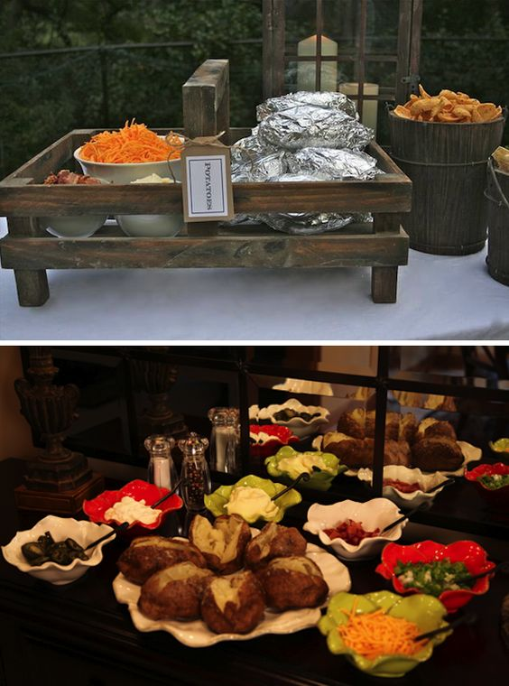 Baked potato bar food displays and fun food on pinterest for Food bar ideas for wedding reception