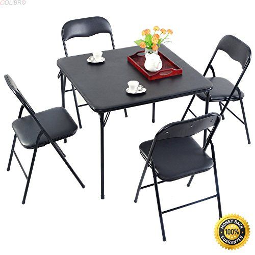 Colibrox 5pc Black Folding Table Chair Set Guest Games Dining Room Kitchen Multi Purpose 5 Piece Kitchen Dinette Sets Folding Table Dining Room Furniture Sets