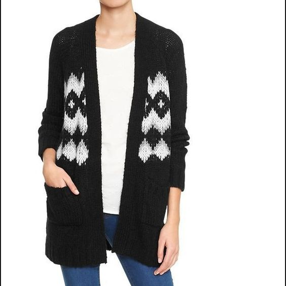 Fair Isle open cardi Black. NWT. Oversized fit. Long and cozy  GAP Sweaters Cardigans