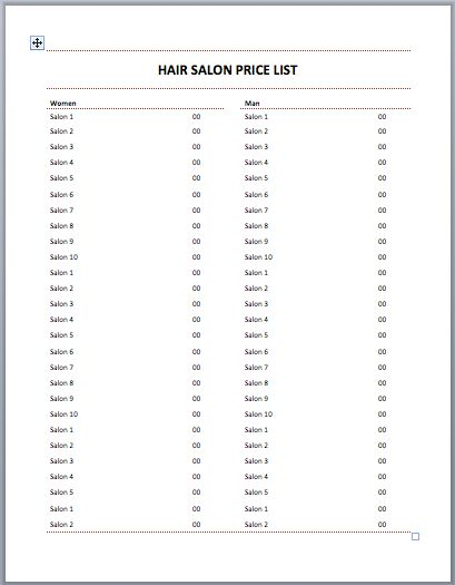 Hair Salon Price List Template  Templates    Hair
