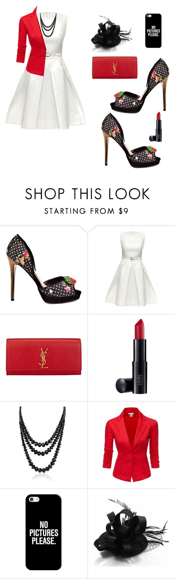 """""""No Pictures Please"""" by weir-allie ❤ liked on Polyvore featuring CeCe Lamour, Lattori, Yves Saint Laurent, Laura Geller, Bling Jewelry, Doublju and Casetify"""