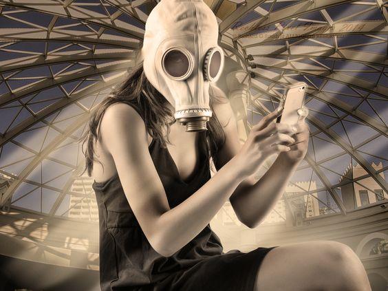 Model Cynthia Ann sporting a gasmask at the now long gone Sahara Hotel & Casino in Las Vegas.