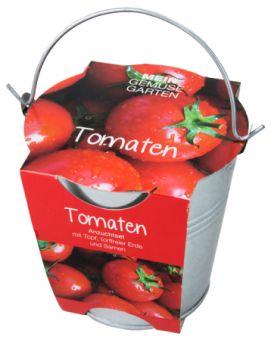 Pflanzset in Zinkeimer, Tomate - Tomaten - klein im Wuchs, groß im Geschmack, reich an Vitaminen. Legen Sie das Saatgut auf die Erde, drücken Sie es leicht an und halten Sie die Aussaat gleichmäßig fe