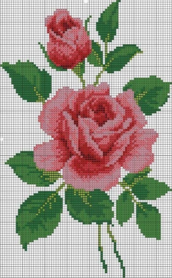Ponto Cruz E Outros Artigos Cross Stitch Patterns Flowers Cross Stitch Flowers Rose Cross Stitch Pattern