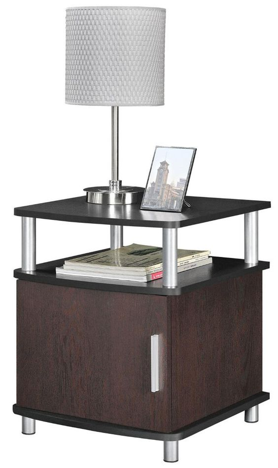 Contemporary Side End Table Drawer Storage Wood Living Room