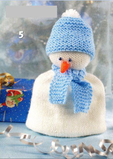 Вязаный Снеговик — Грелка на Чашку | Дидилка