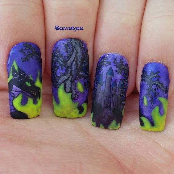 Sleeping Beauty Nail Art: Dragon Nail Art Inspired By Maleficent From Disney's