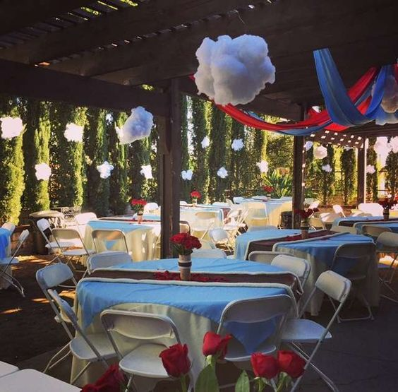 Amazing decorations at an  airplane baby shower party! See more party planning ideas at CatchMyParty.com!