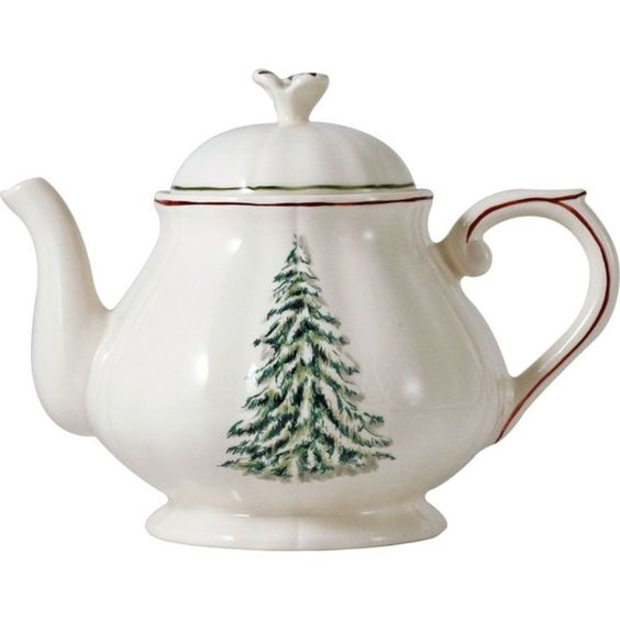 GIEN Filets noel teapot ($170) ❤ liked on Polyvore featuring home, kitchen & dining, teapots, ceramic teapots, ceramic tea pot and christmas tea pot