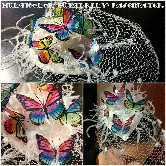 Multicolor Butterfly Rainbow Fascinator