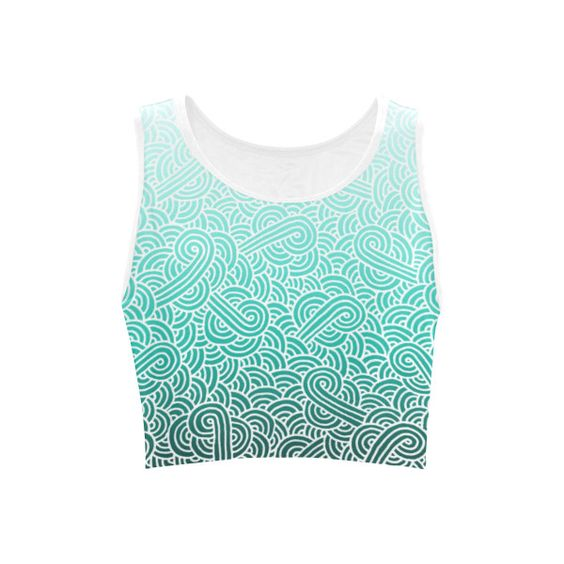 Ombre turquoise blue and white swirls doodles Women's Sports Bra ($12) ❤ liked on Polyvore featuring activewear, sports bras and women