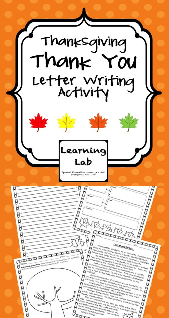 Thanksgiving Thank You Letter Writing Activity Students Write A Letter ...