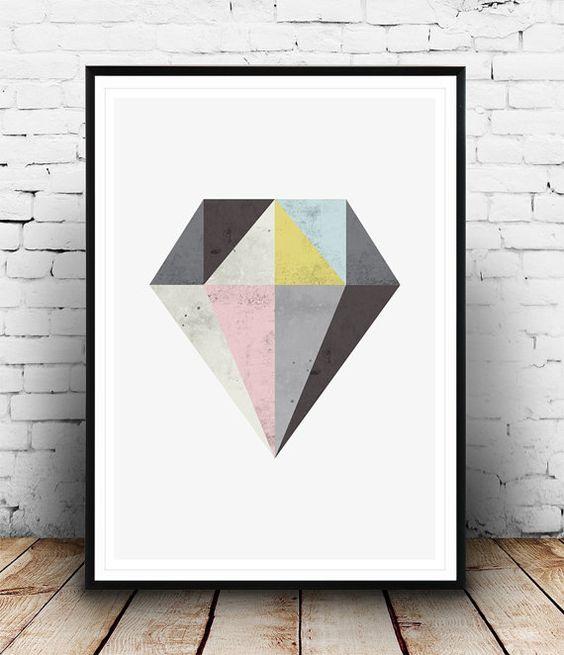Abstract wall art, Diamond print, Watercolor texture, Geometric print, Scandinavian design, Minimalist art, Home decor, Abstract design