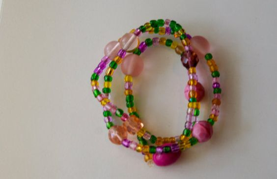 Green Pink  Yellow Glass Beaded by AmandasJewelryStore on Etsy, $7.00