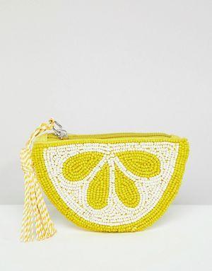 Pull&Bear - Porte-monnaie en perles en forme de citron - Jaune