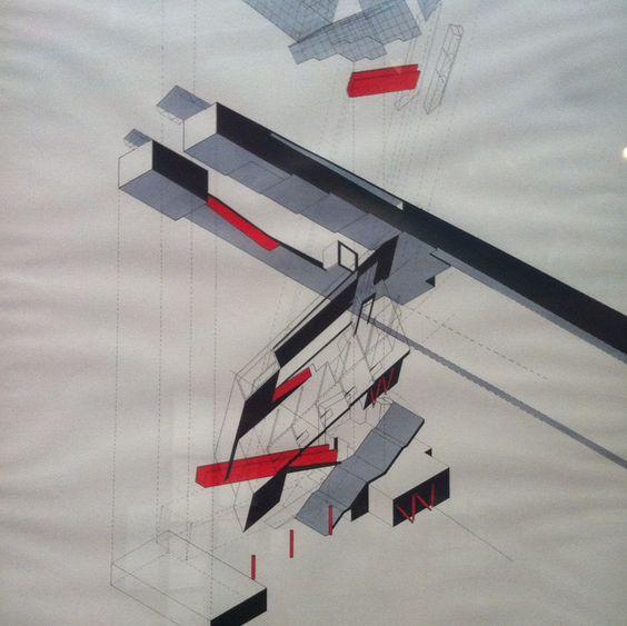 Descomposición de un diseño - Obra de Bernard Tschumi - Centre Pompidou Musée National d'Art Moderne en Paris.