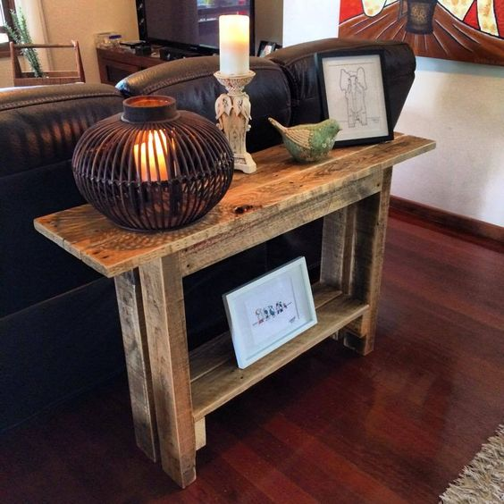 Behind Sofa Table Made of #Pallets - 125 Awesome DIY ...