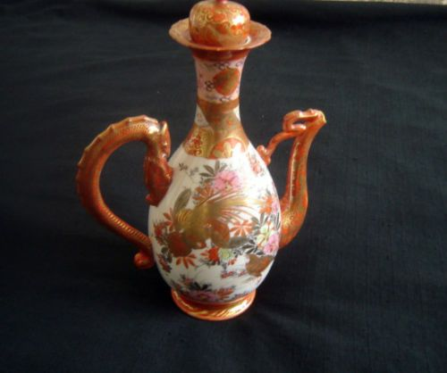 ANTIQUE-JAPANESE-KUTANI-DRAGON-HANDLE-EWER-PITCHER-TOP-SPOUT-MISSING-HEAD