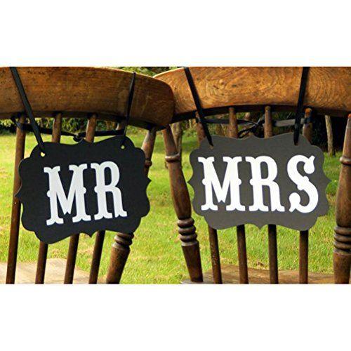 Tinksky Coppia Di Mr E Mrs Photo Props, Mr E Mrs Chair Signs, Decorazioni Di Nozze, Sposa E Sposo, Segni Photo Booth, Unique Wedding Decor (Bianco+Nero)