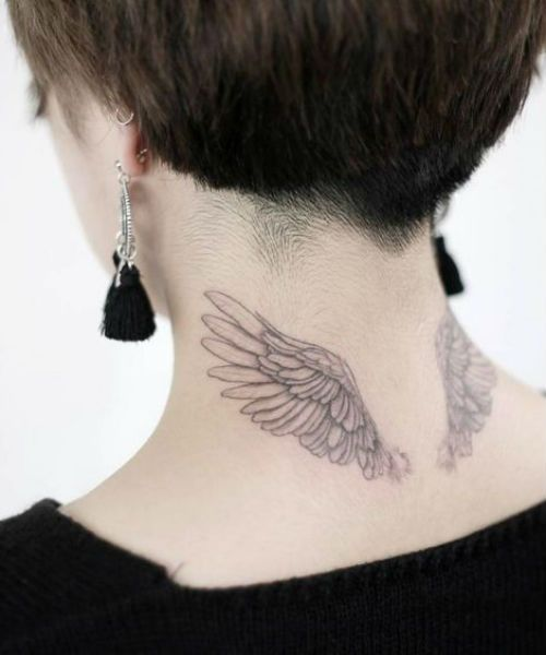 Modish And Chic Wing Tattoo Ideas On Back Of The Neck For Girls To Inspire You Wings Tattoo Back Tattoo Neck Tattoo