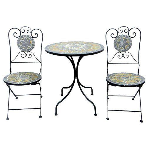 Ensemble de balcon 3 pièces en métal et mosaïque avec table ...